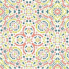Marrakesh Bohemian mosaic in Citrine, tangerine and teal