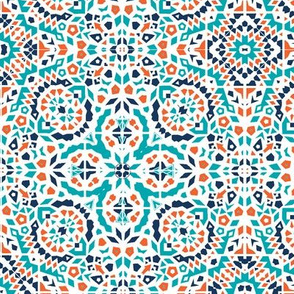 Marrakesh Bohemian teal, blue & rust mosaic