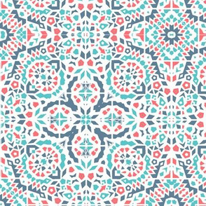 bohemian Tropical mosaic coral, blue and turquoise