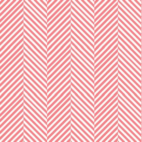 Coral and white Herringbone chevron