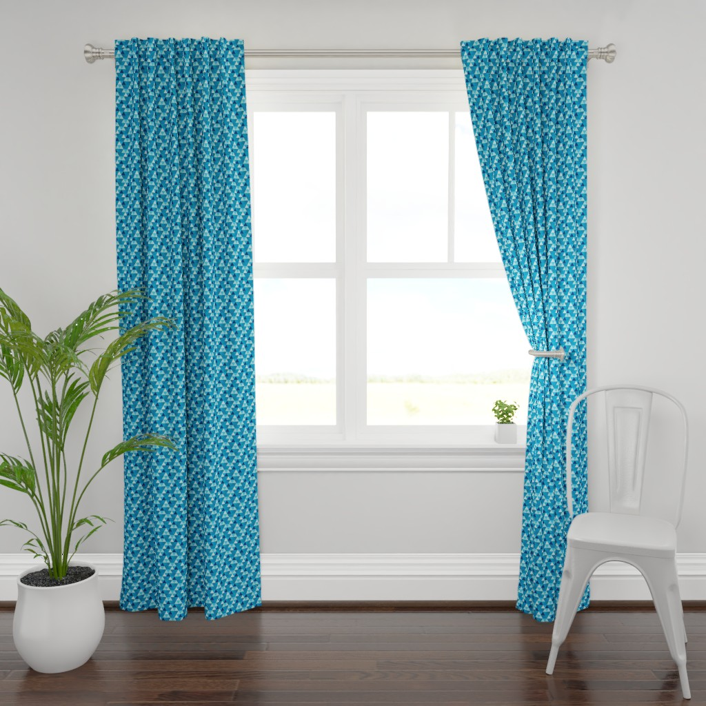 Plymouth Curtain Panel featuring summer Blue triangle Hexagon cheater quilt by magentarosedesigns