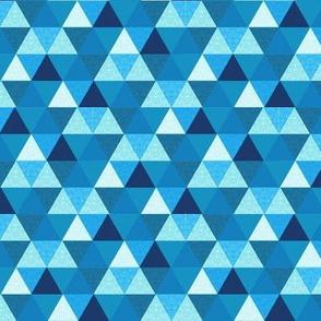 summer Blue triangle Hexagon cheater quilt