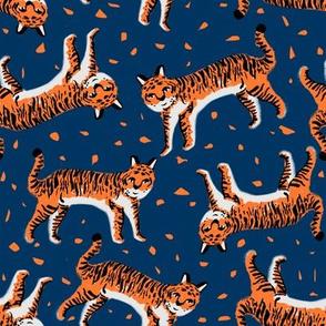 tigers fabric // tiger animal safari fabric andrea lauren - orange and navy