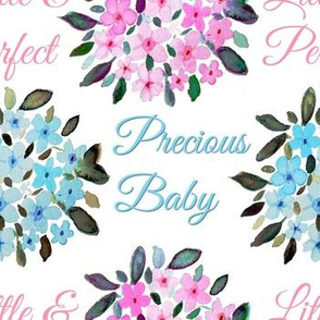 Precious baby watercolor floral nursery wallpaper & matching fabric