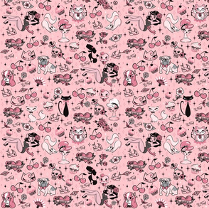 Miss Fluff Classic Pattern on Pink