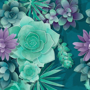 Normal scale // Succulent Love 1 // green and purple succulents and cactus