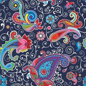 Traditional flower illustration chic blue pattern