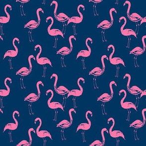 flamingo fabric navy and pink flamingos