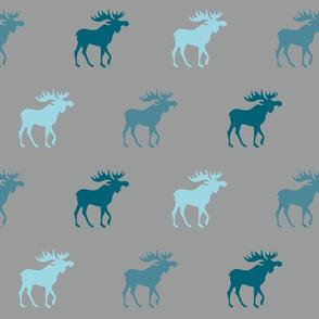 Big Moose - teal, blue on grey - Winslow Woodland
