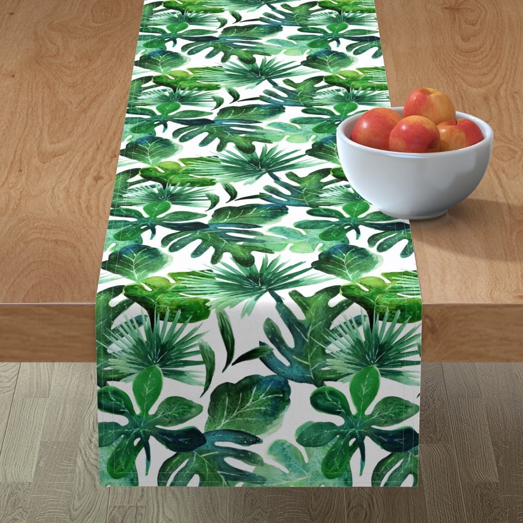 Minorca Table Runner featuring Tropical Leaves by crystal_walen