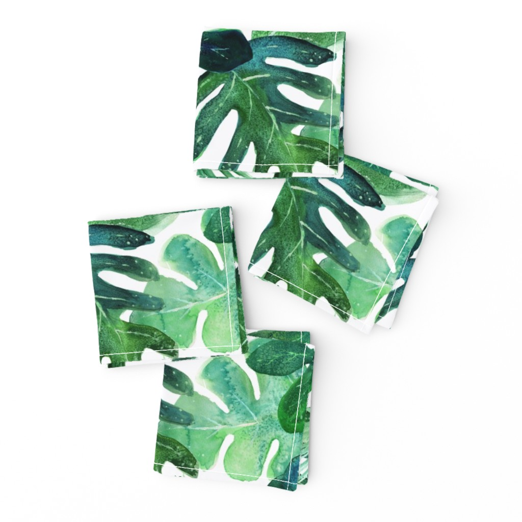Frizzle Cocktail Napkins featuring Tropical Leaves by crystal_walen