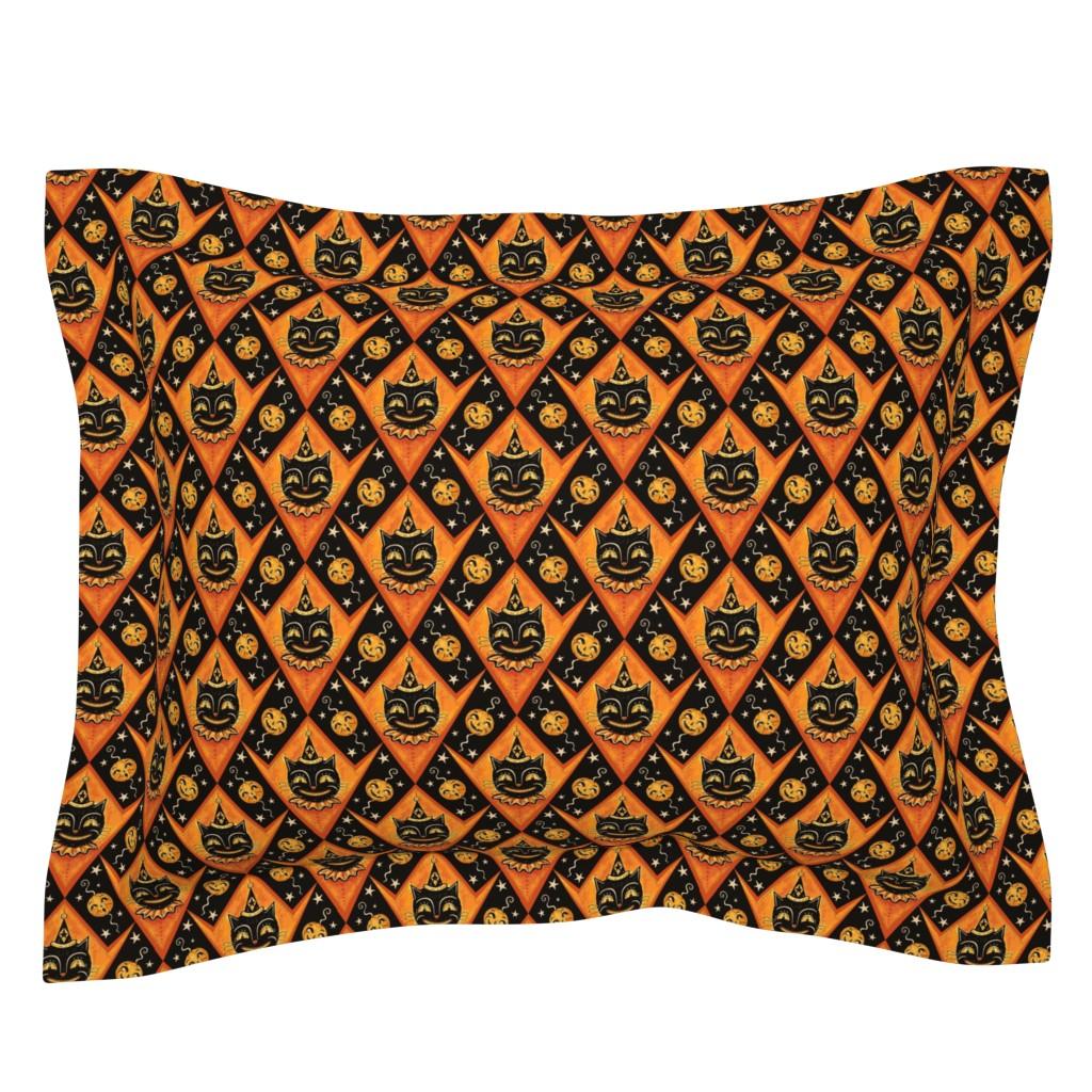Sebright Pillow Sham featuring Grinning Black Cat & Jacks by johannaparkerdesign