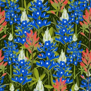 Bluebonnets and Paintbrushes on Green