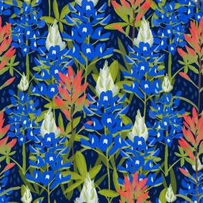 Bluebonnets and Paintbrushes on Navy