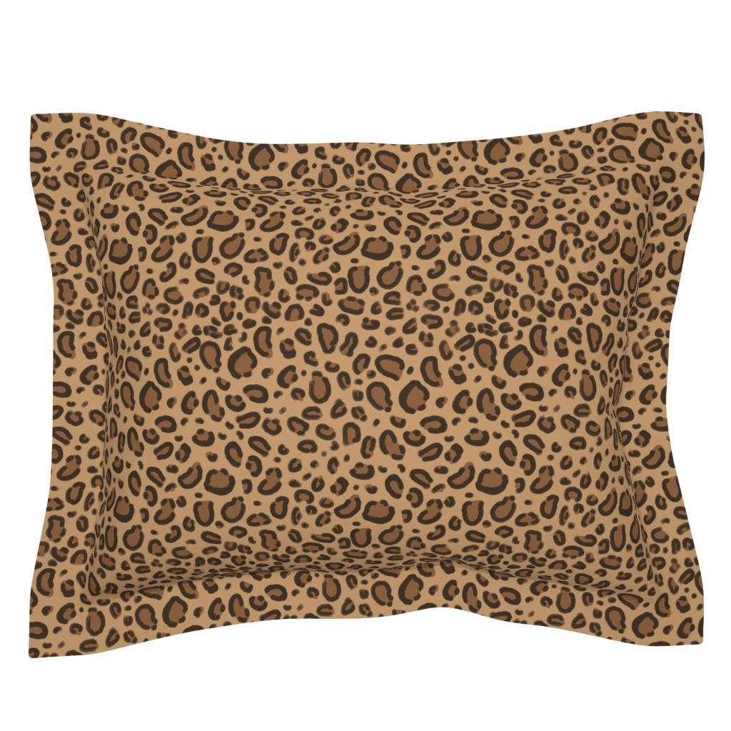 Sebright Pillow Sham featuring leopard print fabric safari animals nursery fabric baby design neutral by charlottewinter