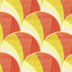 Warped Art Deco Fan Pattern in Orange Ombre