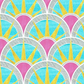 Fancy Art Deco  Fan in Pink, Aqua and Yellow