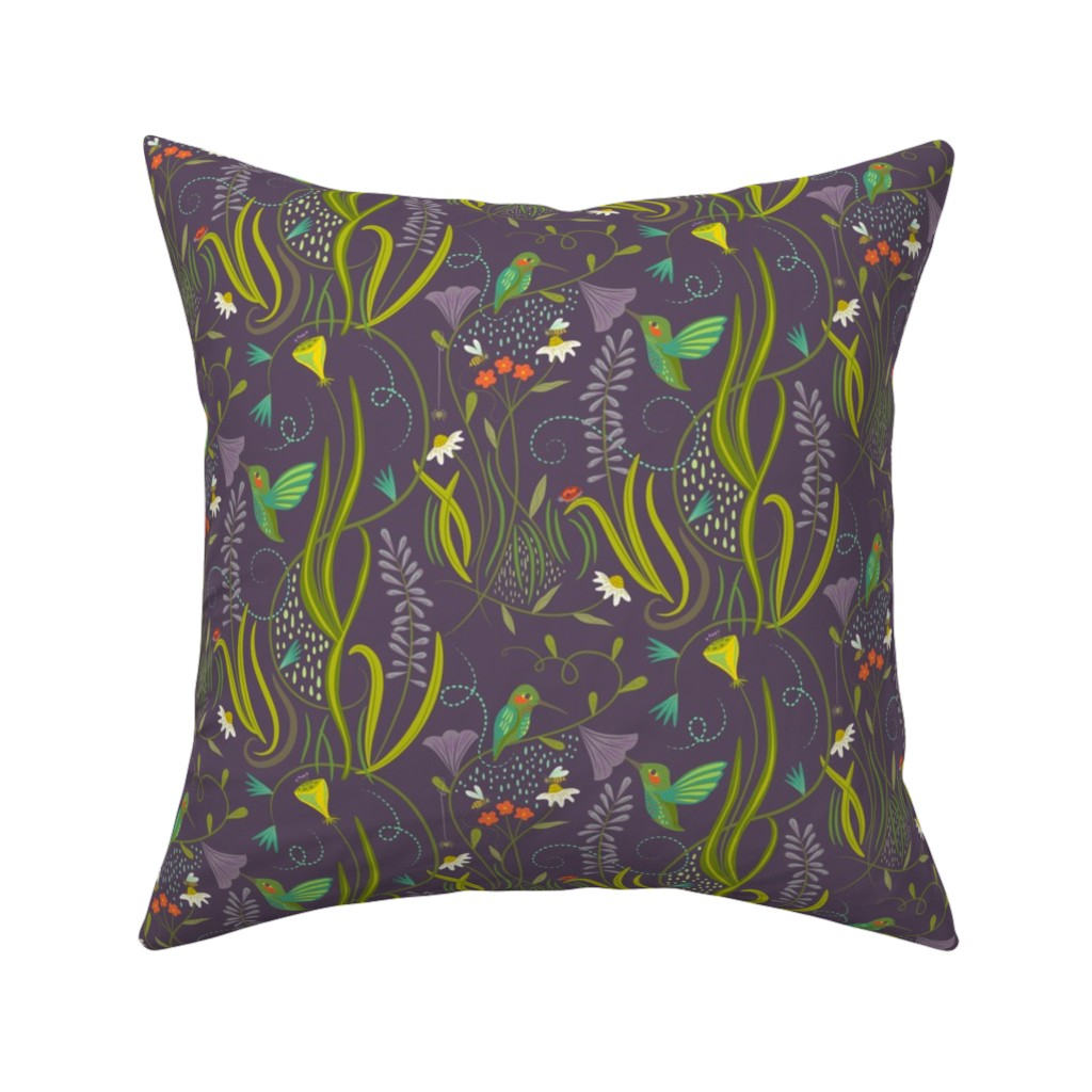 Catalan Throw Pillow featuring Hummingbirds_on_lilac by johannaparkerdesign
