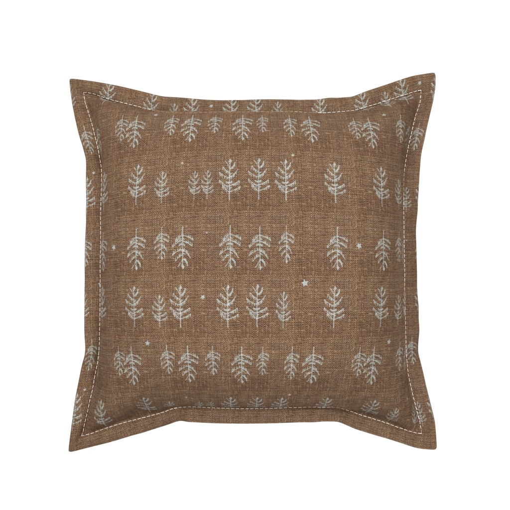 Serama Throw Pillow featuring Night Forest (burnt umber) by nouveau_bohemian