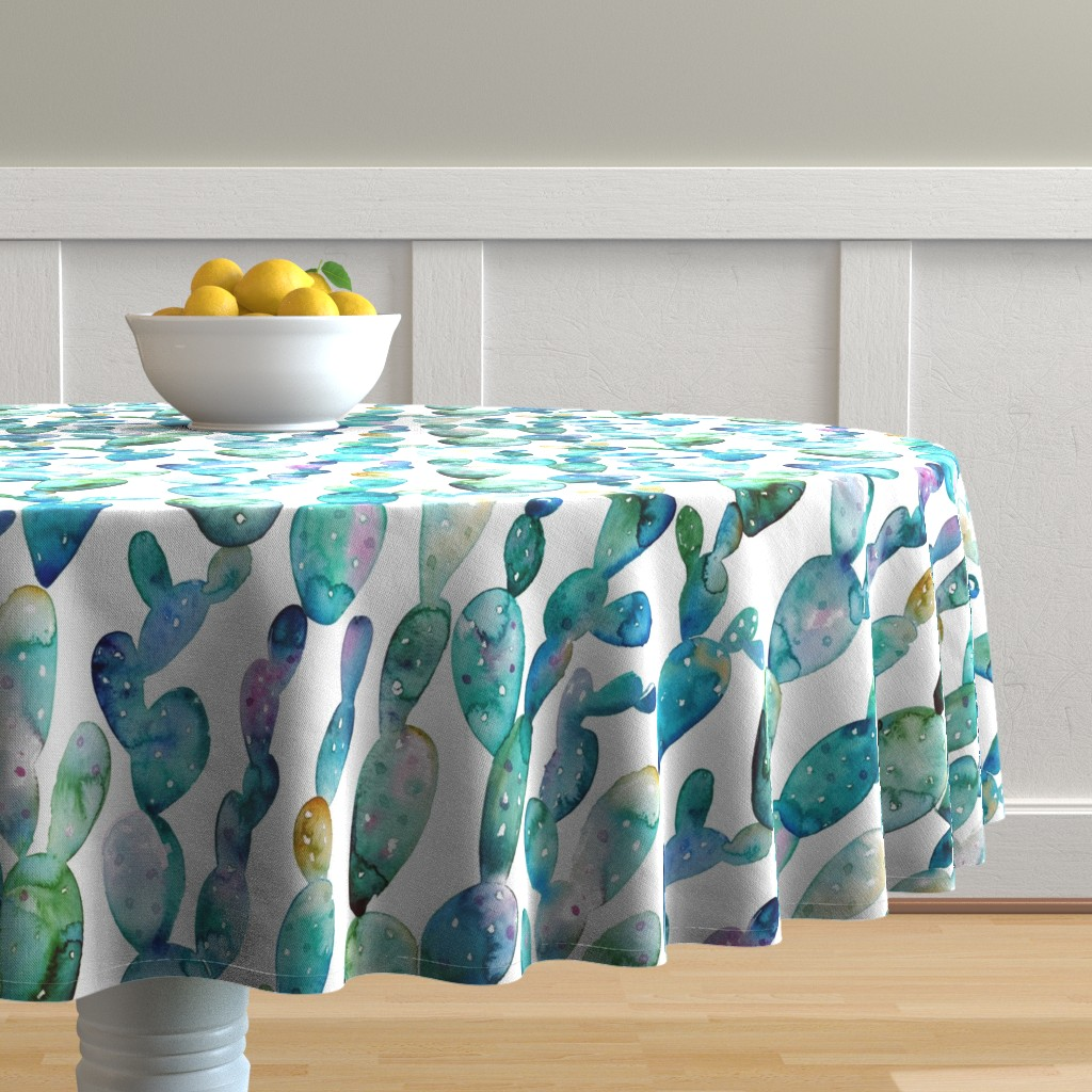Malay Round Tablecloth featuring Watercolor cactus white by tasiania