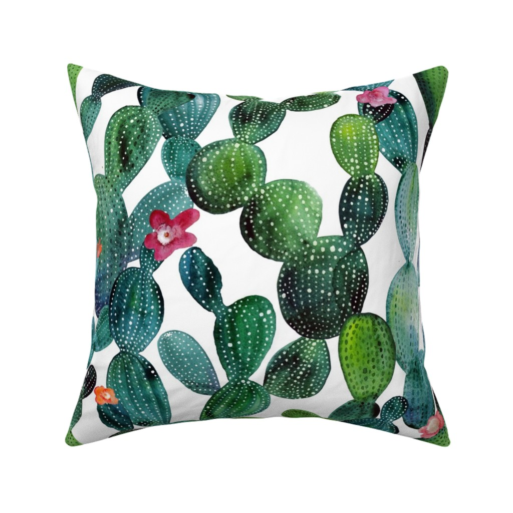 Catalan Throw Pillow featuring Cactuses green wall by tasiania
