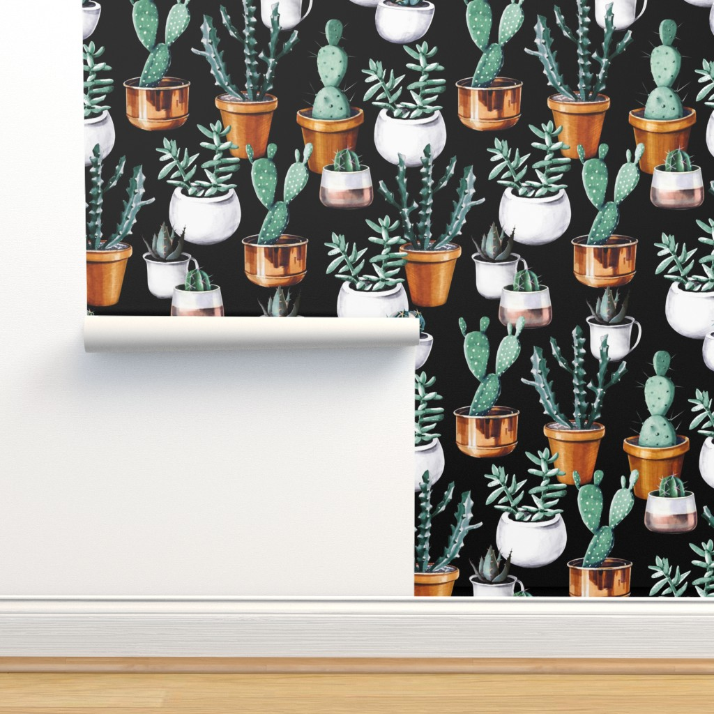 Isobar Durable Wallpaper featuring Cactus pots black by tasiania