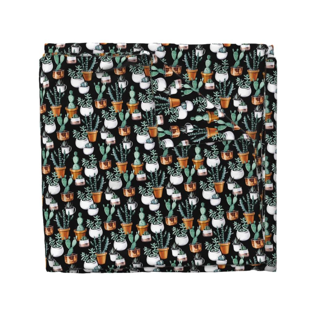 Wyandotte Duvet Cover featuring Cactus pots black by tasiania