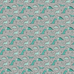 Dinosaurs on Grey Tiny Small