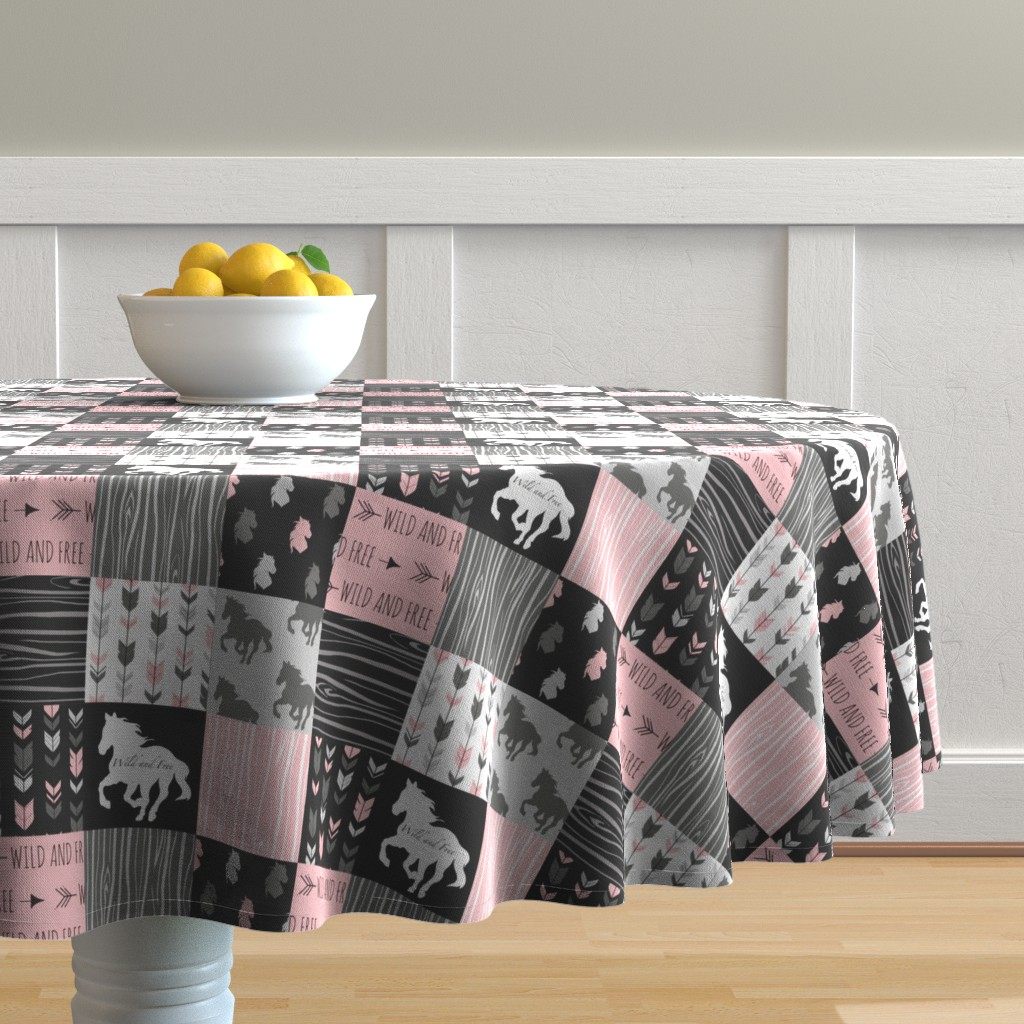 """Malay Round Tablecloth featuring 3"""" Horse Patchwork - Pink,  Black and Grey by sugarpinedesign"""
