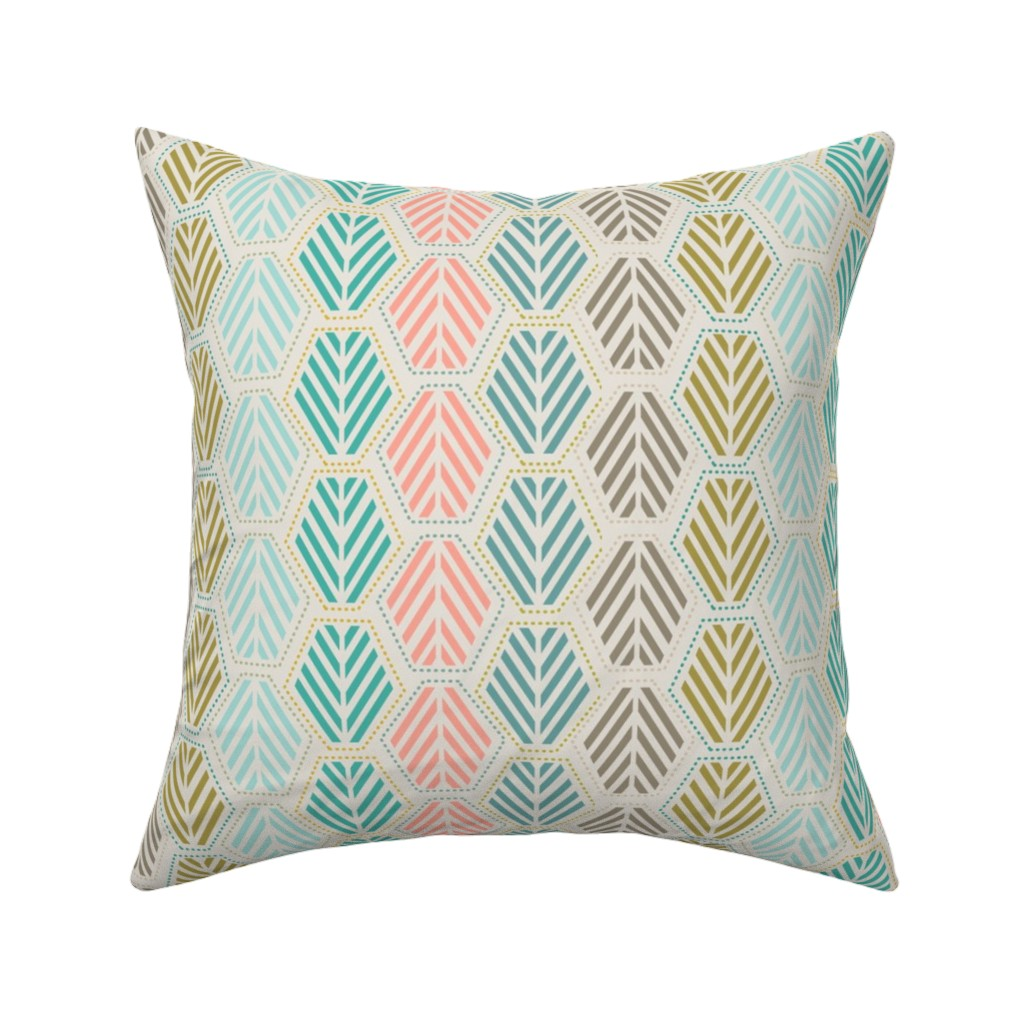 Catalan Throw Pillow featuring Hexie Pines Multi by teresamagnuson