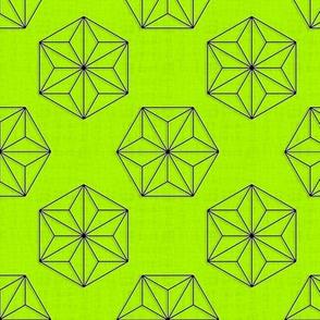 Asanoha Hexagons (Green Lemon)