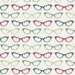 Small Scale Cat's Eye Glasses in Shades of Red and Green ©Jennifer Garrett