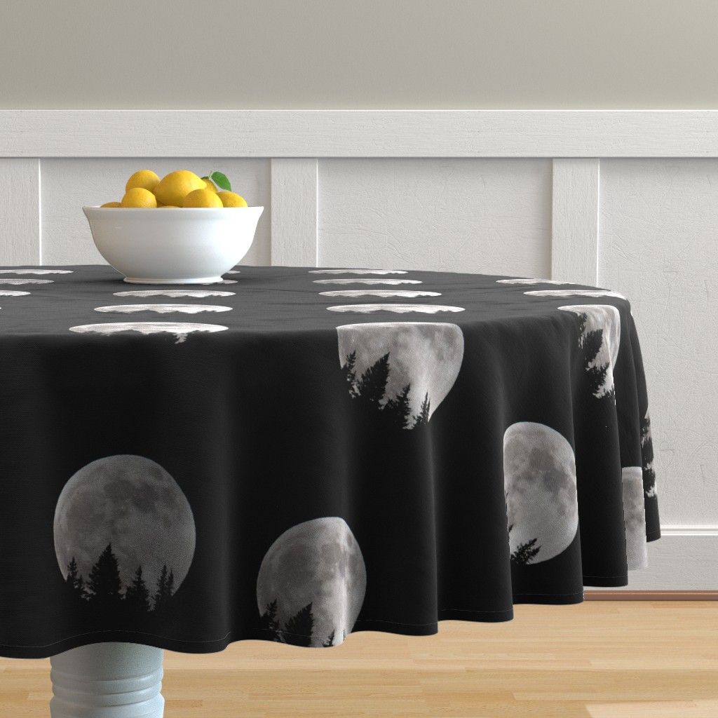 Malay Round Tablecloth featuring Moonlight by tetonbadger