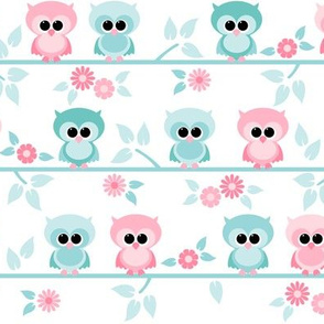 Baby owls pink and mint