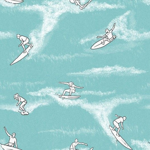Surfers on Light Blue