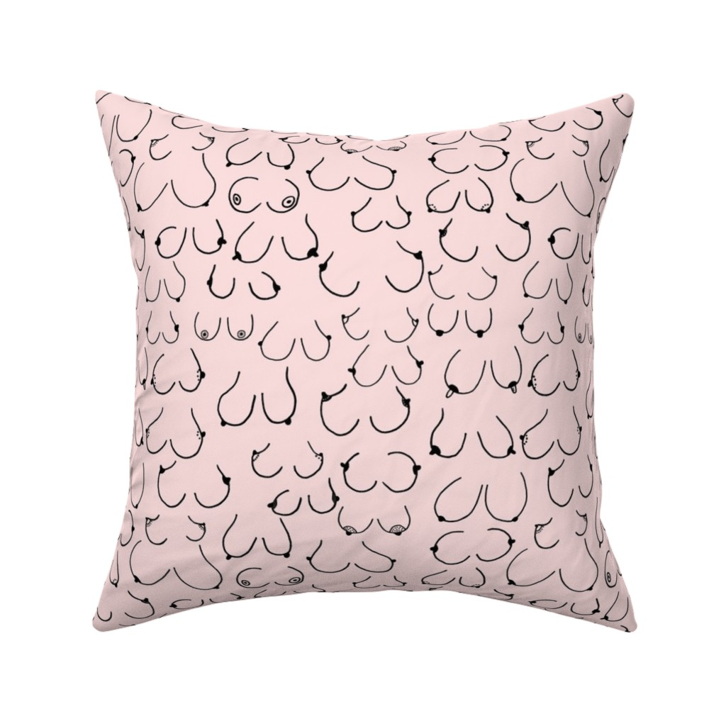Catalan Throw Pillow featuring Simply the breast Pink by hazelnicholls