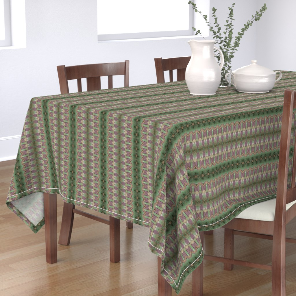 Bantam Rectangular Tablecloth featuring Laced Up Stripes of Handmade Paper by anniedeb
