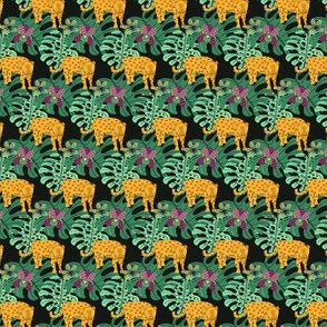 Jaguar Jungle (SMALL PRINT) - rainforest monstera plant animal wild safari forest cat tropical kids nursery