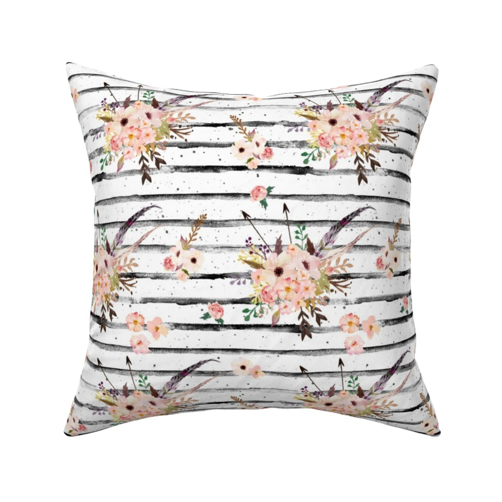 """Catalan Throw Pillow featuring 8"""" Lose Yourself Stripes with Boho Pink   Floral Print by shopcabin"""
