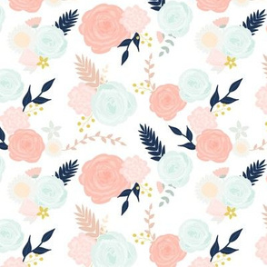 Custom summer blooms on white with navy