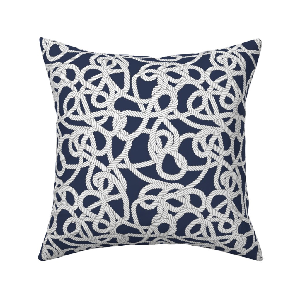 Catalan Throw Pillow featuring Nautical Rope Knots in Navy by elliottdesignfactory