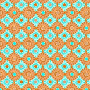 Orange and Blue Chrysanthemums