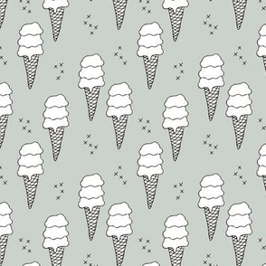 Ice cream cone illustration summer love candy time cool green boys