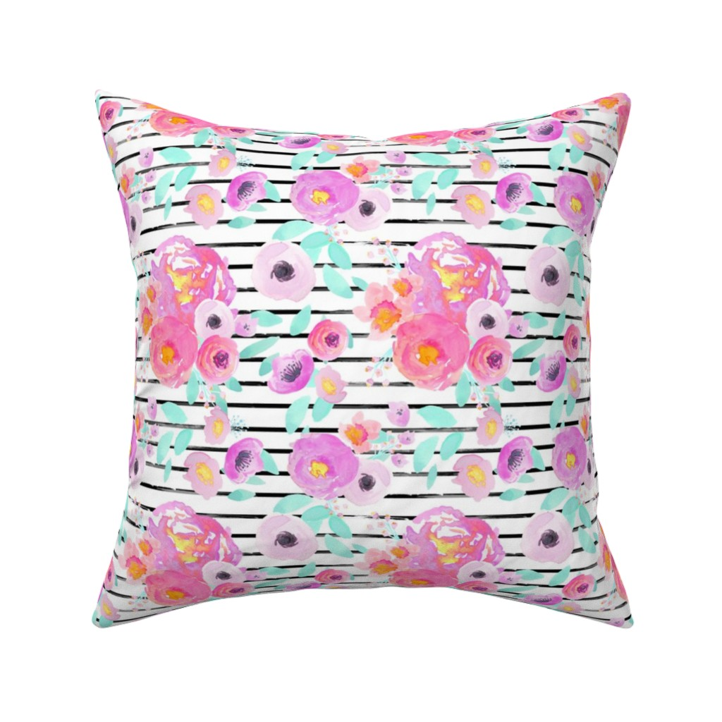 Catalan Throw Pillow featuring Indy Bloom Design Neon Zebra by indybloomdesign