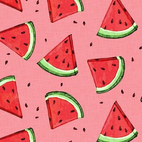 Tossed watermelons - pink textured