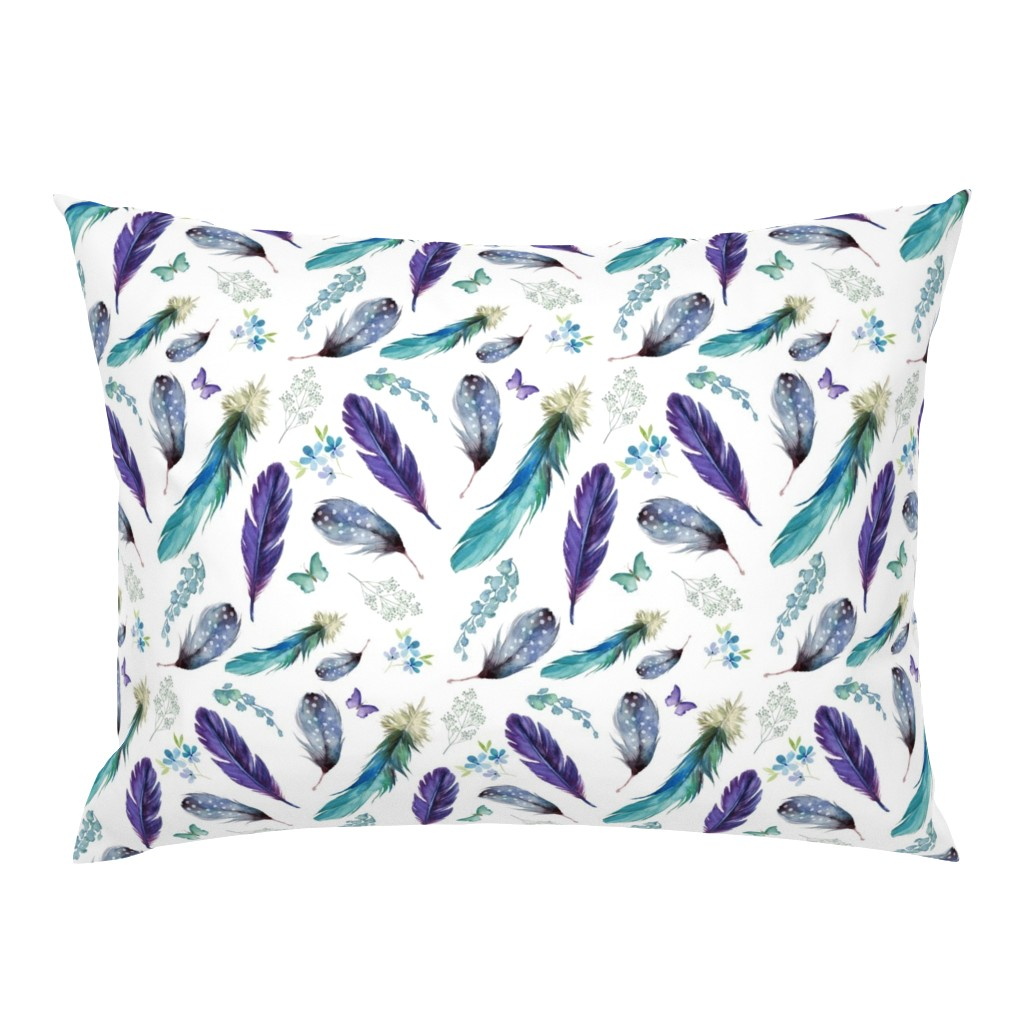 """Campine Pillow Sham featuring 8"""" LILAC MERMAID / FEATHERS & FLORALS by shopcabin"""