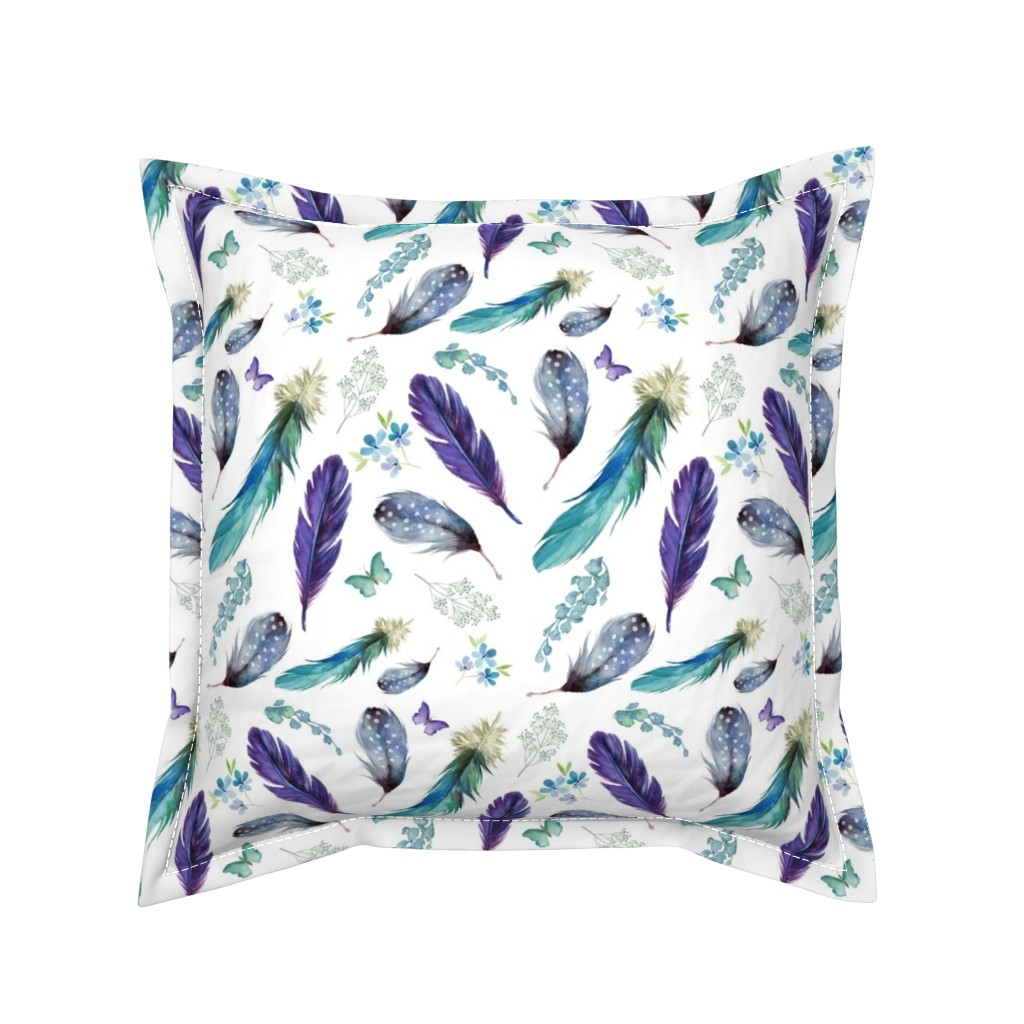 """Serama Throw Pillow featuring 8"""" LILAC MERMAID / FEATHERS & FLORALS by shopcabin"""