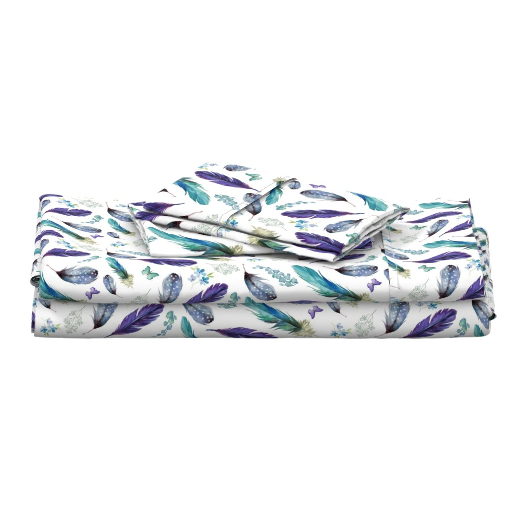 """Langshan Full Bed Set featuring 8"""" LILAC MERMAID / FEATHERS & FLORALS by shopcabin"""