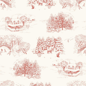 Winter Toile Red