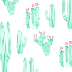 17-15K Large Scale Cactus Watercolor || Pink Mint Jade Green White Succulent Southwest Saguaro_Miss Chiff Designs